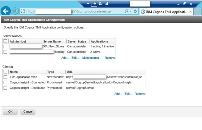 TM1 Application web administer